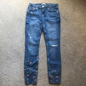 Zara Floral Embroidered Skinny Jeans